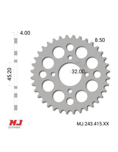 MJ rear sprocket for classic Puch Maxi