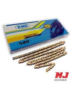 Cadena KMC 118 eslabones paso 520 en color oro